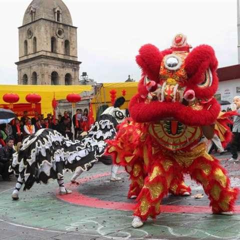 Vista de las danzas del león y el dragón durante una fiesta con motivo del Año Nuevo chino en Bolivia. EFE