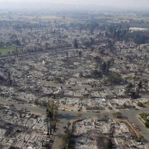 Los hogares destruidos por los incendios se ven desde una vista aérea en Santa Rosa, California. / AP