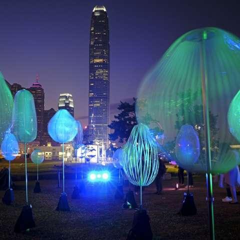 Decenas de personas disfrutan de la instalación del Pulse Light Festival en Hong Kong, la cual fue encendida este diciembre muy cerca del centro de negocios Central. Fotos: AP