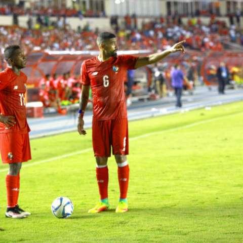 """Gabriel """"Gavilán"""" Gómez durante el partido que Panamá enfrentó a Jamaica en el Rommel Fernández. Foto Anayansi Gamez"""