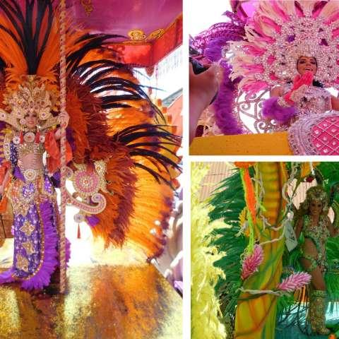 Foto combinación de las reinas del Carnaval en el culeco de este lunes.  /  Foto: Zenaida Vásquez