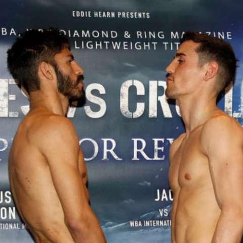 Jorge Linares (izq.) y Anthony Crolla, a la guerra. Foto cortesía: boxingscene.com