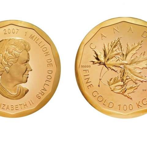 Fotografía sin fechar facilitada por el Museo Bode de Berlín que muestra la mayor moneda de oro del mundo, una pieza de 100 kilos y un valor nominal de un millón de dólares (926.000 euros) y que ha sido robada hoy 27 de marzo de 2017. EFE