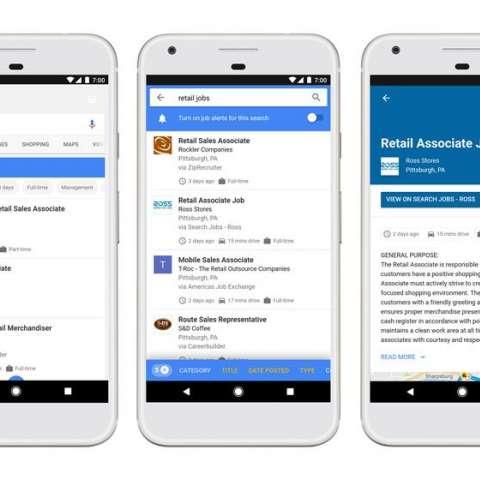 Imagen cedida por Google, que muestra varias pantallas de ejemplo de la nueva herramienta del motor de búsqueda de Google, para ayudar a los usuarios a rastrear y encontrar ofertas de trabajo.  /  Foto: EFE