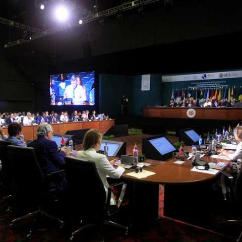 Vista general el 20 de junio de 2017, de la primera plenaria de Ministros de Relaciones Exteriores, de la 47 Asamblea General de la Organización de Estados Americanos (OEA), en Cancún, en el estado de Quintana Roo (México). EFE/Archivo