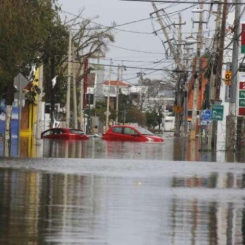 Coches flotan en calle inundada.  Foto: EFE