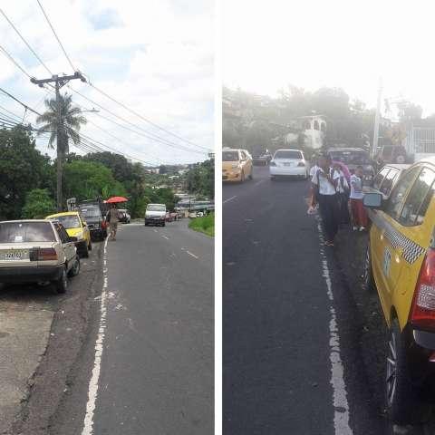 Los vehículos obstruyen el paso de peatones.  /  Foto: WhatsAppCri