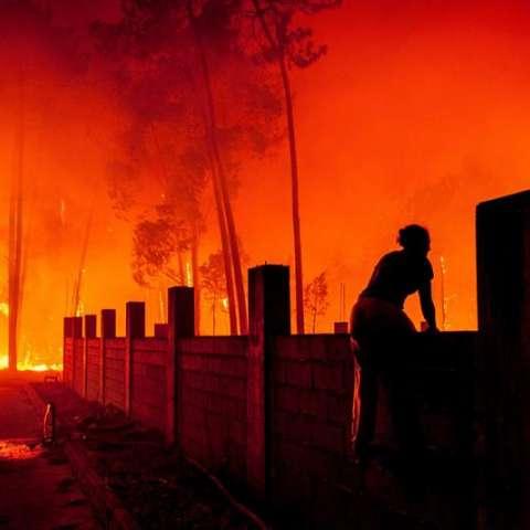 Una mujer lucha contra las llamas en un incendio forestal declarado en Vieira de Leiria en Marinha Grande (Portugal) este lunes, 16 de octubre. EFE