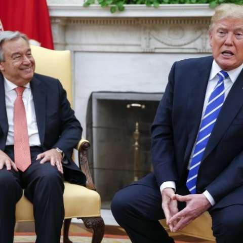 Donald Trump y António Guterres. EFE