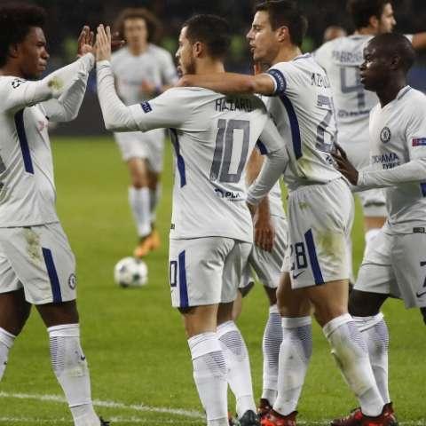 Hazard (10) celebra su gol. Foto: AP