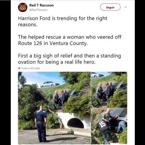 La mujer iba en un vehículo delante de él y su carro se accidentó.  /  Captura de video.