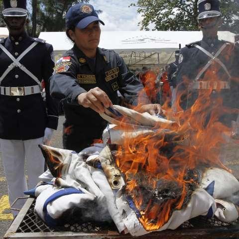 La Gobernación de la provincia de Panamá ha organizado en los últimos 19 años junto a la Asociación de Muchachas Guías de Panamá la cremación de banderas viejas o en desuso.  /  Foto: Edwards Santos