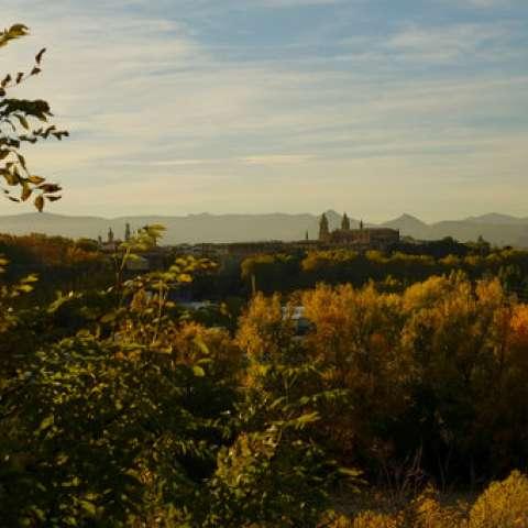 La catedral de Santa María está rodeada de follaje otoñal cuando se pone el sol en un día de otoño, en Pamplona, norte de España. / AP