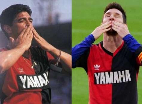 Lindo homenaje de Messi a Maradona. Foto: Newell's Oll Boys
