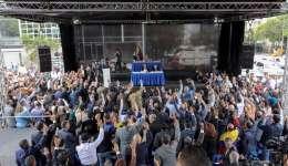 """Vista del público que asiste sesión de la Asamblea Nacional de Venezuela el 21 de julio de 2017, en Caracas (Venezuela). El Parlamento venezolano, de mayoría opositora, nombró a 33 nuevos magistrados del Tribunal Supremo, por considerar """"ilegítimos""""./ EFE"""