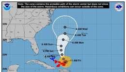 Gráfico cedido por el Centro Nacional de Huracanes de Miami (NHC) que muestra la trayectoria de tres días del huracán María a su paso por el Atlántico. EFE