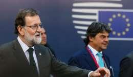 l presidente del gobierno, Mariano Rajoy, a su llegada a la segunda jornada de la cumbre del Consejo Europeo que se celebra en Bruselas (Bélgica) este 20 de octubre. EFE