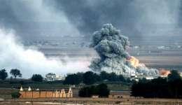 Una explosión tras un bombardeo presuntamente efectuado por la coalición internacional en el norte de Siria. EFE/Archivo