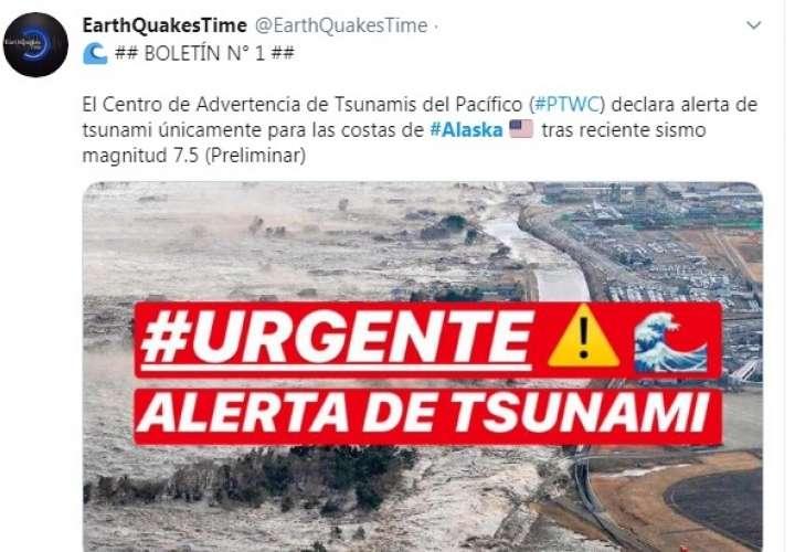 Terremoto de 7,8 sacude Alaska; hay alerta de tsunami