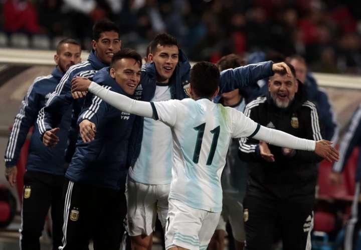 Ángel Correa celebra su gol anotado ante Marruecos. Foto: AP