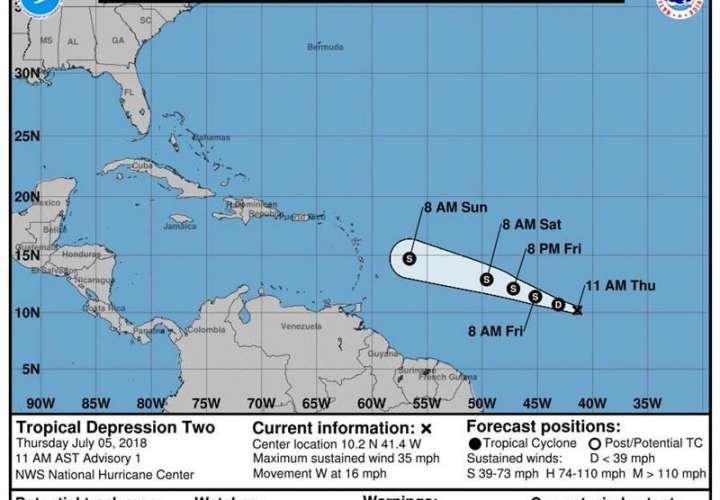 Imagen cedida por el Centro Nacional de Huaracanes (NHC) donde se observa los pronósticos de tres días de la trayectoria de la tormenta tropical Beryl. EFE/Archivo