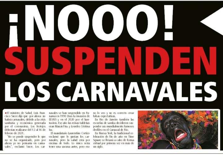 ¡NOOO! Suspenden los carnavales del 2021