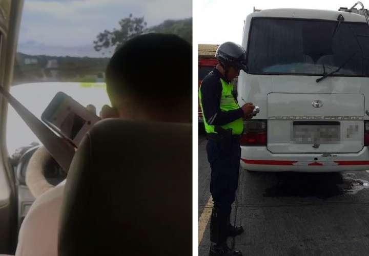 Ubican y sancionan conductor de autobús por hablar por celular mientras maneja