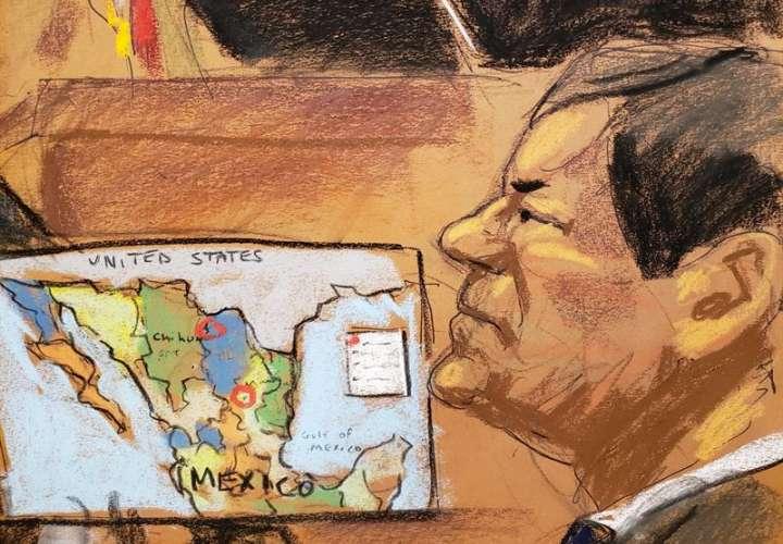 """Reproducción fotográfica de un dibujo realizado por la artista Jane Rosenberg donde aparece el narcotraficante mexicano Joaquín """"El Chapo"""" Guzmán, durante una audiencia el pasado 3 de enero. EFE/Archivo"""
