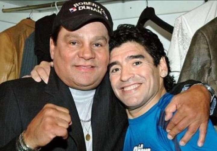 Roberto Durán y Diego Maradona. /Foto: Archivo