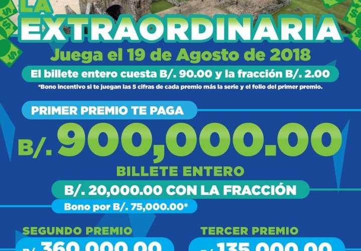 Extrordinaria repartirá $5.4 millones en premios
