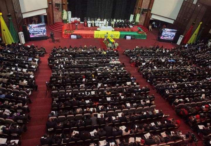 Vista del salón donde se celebra el funeral de Estado de Kofi Annan, en el Centro Internacional de Conferencias de Accra, Ghana, hoy 13 de septiembre de 2018. EFE
