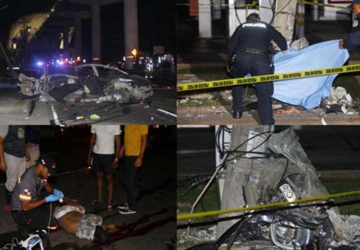 El tránsito por la Domingo Díaz se vio afectado en dirección a Panamá Centro. Las unidades de la Policía Nacional llegaron al lugar, mientras se hacían las diligencias. Fotos:  Alexander Santamaria