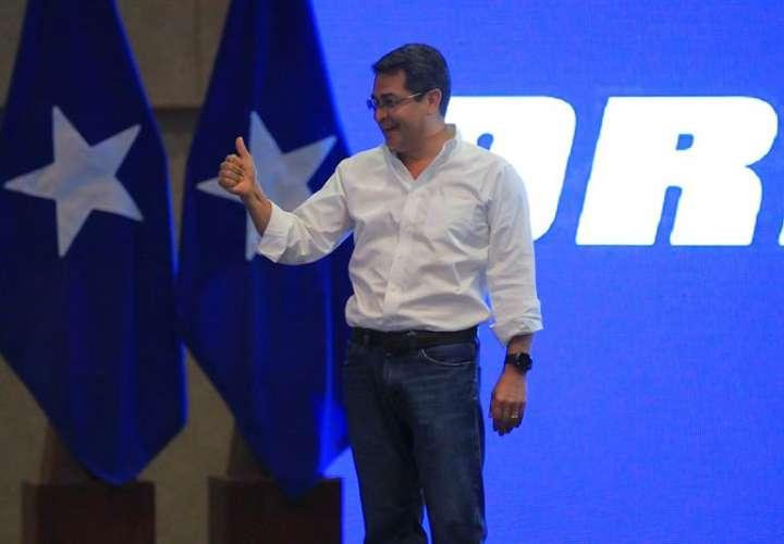 El presidente de Honduras ,Juan Orlando Hernández, el pasado domingo 26 de noviembre de 2017, al declararse ganador de las elecciones presidenciales, en Tegucigalpa (Honduras). EFE