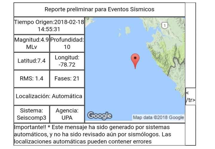 Sismo de 4.9 MI sacudió a Panamá este domingo