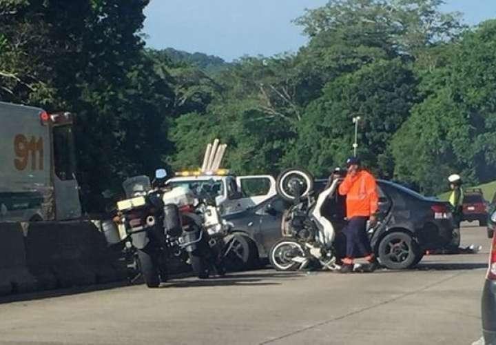 Vista general de la colisión en el Corredor Norte. Foto: @TraficoCPanama