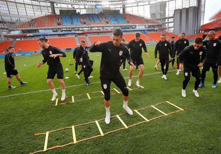 Los 23 de Uruguay se encuentran listo para debutar contra su primer rival Egipto, en el Mundial de Rusia 2018. Foto EFE