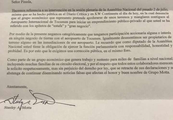 Motta acusa a Pineda de dar 'Fake News'