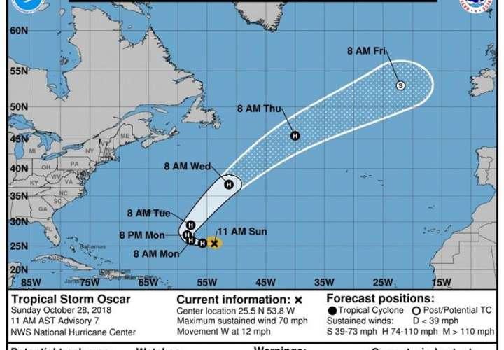 Gráfico cedido hoy, domingo 28 de octubre de 2018, por el Centro Nacional de Huracanes (NHC), donde se muestra la trayectoria de la tormenta tropical Óscar. EFE/CNH-NOAA