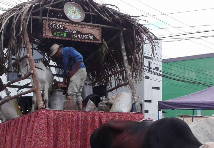 """Ganaderos presentan carreta """"Crisis en el Agro Panameño"""" en desfile"""