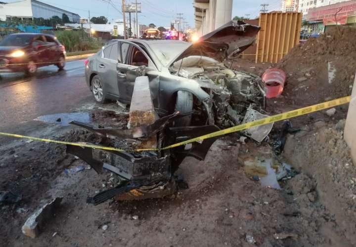 Vista general del accidente de tránsito frente a la entrada de San Pedro. Foto: @TraficoCPanama