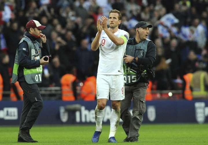 Harry Kane celebra su anotación ante Croacia. Foto: AP