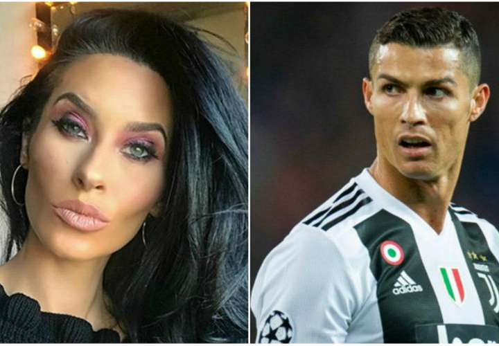 Jasmine Lennard (izq.) y Cristiano Ronaldo