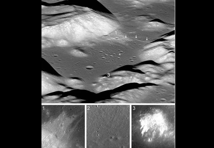 Combo de fotografías divulgadas por la NASA tomadas por la cámara del Orbitador de Reconocimiento Lunar (LROC), donde se muestran las diferentes fallas que se están formando en el valle de Taurus-Littrow. EFE/Nasa