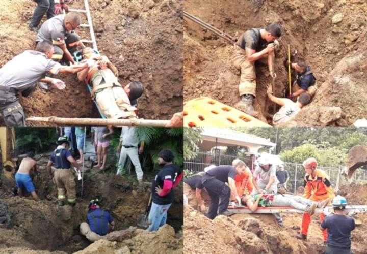 Los afectados jamás pensaron que la tierra que habían sacado para enterrar las tuberías se le fuera a desmoronar y los dejara enterrados hasta el pecho, tuvieron suerte de ser rescatados a tiempo. Fotos: Thays Domínguez/Cortesía