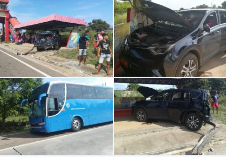 ¡Tanganazo¡ Cuatro heridos por choque entre bus y camioneta en Aguadulce