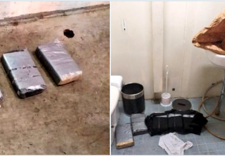 Descubren 5 paquetes de droga en baño de embarcación