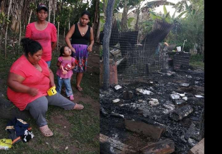Humilde familia pierde su casa durante incendio
