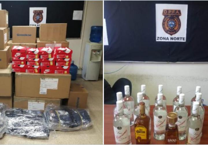Aduanas incauta licores, zapatillas y ropa de contrabando en Colón