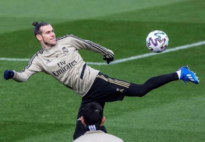 El delantero galés del Real Madrid Gareth Bale, durante el entrenamiento. Foto: EFE