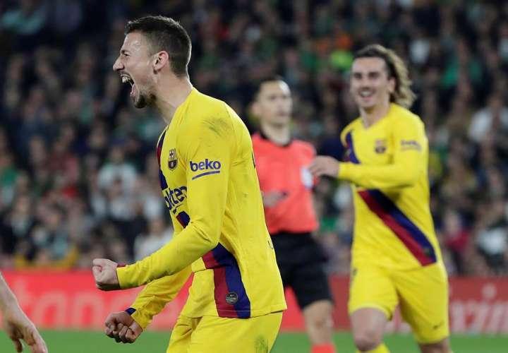 Lenglet celebra su gol. /EFE